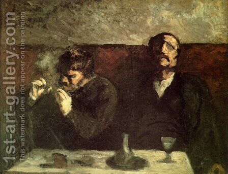 Two Men Sitting with a Table, or the Smokers by Honoré Daumier - Reproduction Oil Painting
