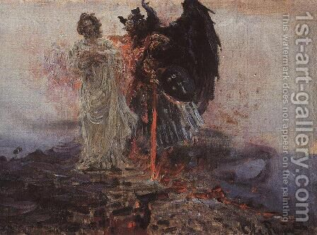 Follow me, Satan 3 by Ilya Efimovich Efimovich Repin - Reproduction Oil Painting