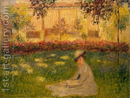 Woman in a Garden by Claude Oscar Monet - Reproduction Oil Painting