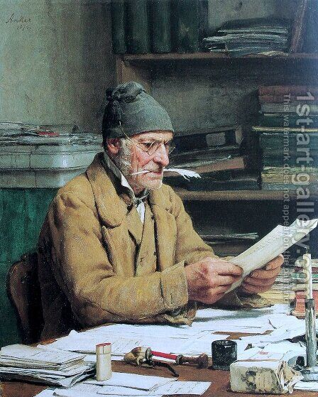 Der Gemeindeschreiber by Albert Anker - Reproduction Oil Painting