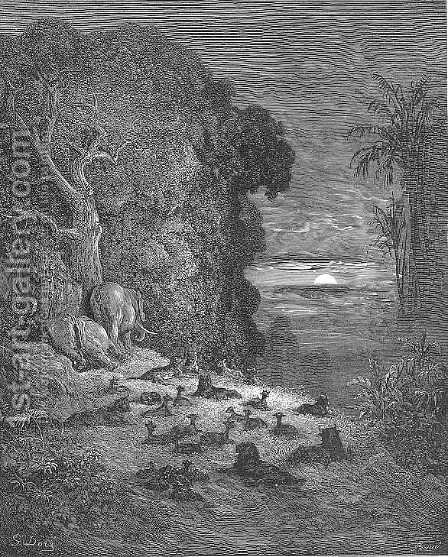And now on earth the seventh Evening arose in Eden by Gustave Dore - Reproduction Oil Painting