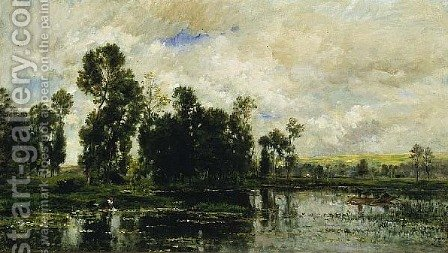 Edge of the Pond by Charles-Francois Daubigny - Reproduction Oil Painting