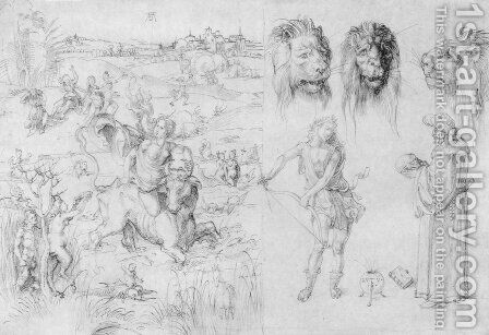 Study sheet with the Rape of Europa by Albrecht Durer - Reproduction Oil Painting