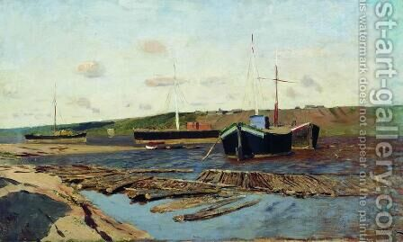 Volga. Barges. by Isaak Ilyich Levitan - Reproduction Oil Painting