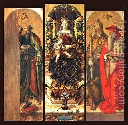 The central panels of the polyptych by Carlo Crivelli - Reproduction Oil Painting