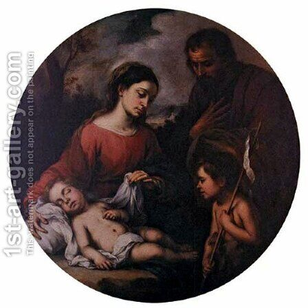 Holy Family with the Infant Saint John by Bartolome Esteban Murillo - Reproduction Oil Painting
