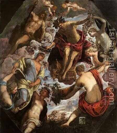 Apollo (possibly Hymen) crowning a Poet and giving him a Spouse by Jacopo Tintoretto (Robusti) - Reproduction Oil Painting
