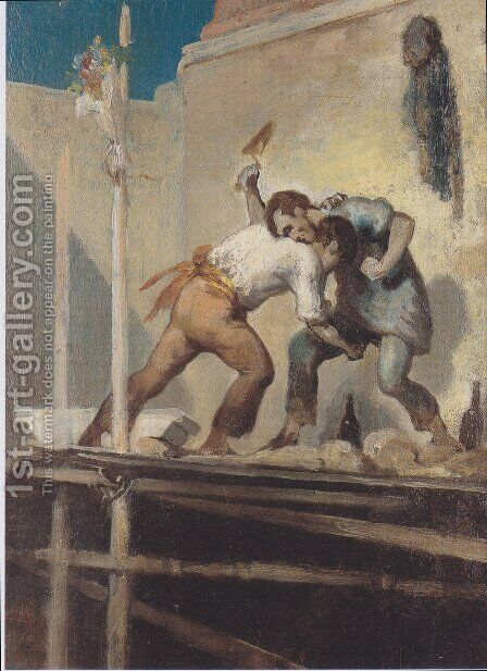 Fighting Bricklayer by Honoré Daumier - Reproduction Oil Painting