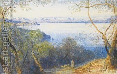 A distant view of the Citadel, Corfu by Edward Lear - Reproduction Oil Painting