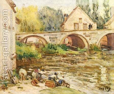 The Washerwomen of Moret 2 by Alfred Sisley - Reproduction Oil Painting