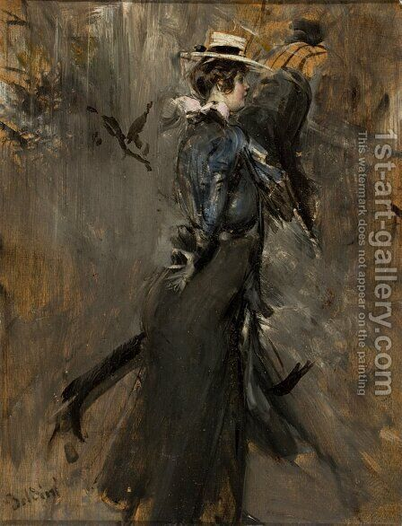 Lady Wearing a Straw Bonnet (Morning Promenade) by Giovanni Boldini - Reproduction Oil Painting