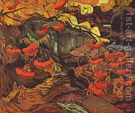 Rowanberries (Mountain Ash), Algoma by James Edward Hervey MacDonald - Reproduction Oil Painting