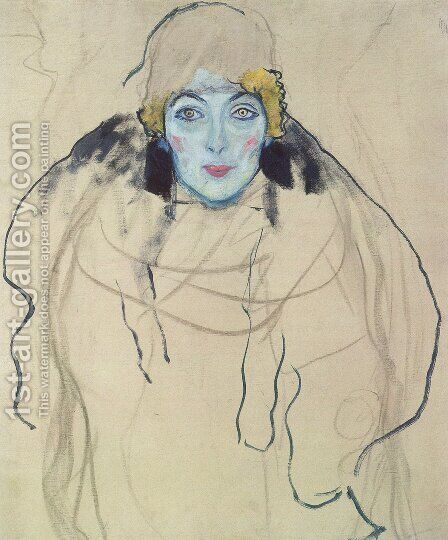 Portrait of a Lady (unfinished) by Gustav Klimt - Reproduction Oil Painting