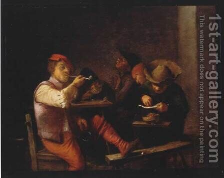 Smokers in an Inn by Adriaen Brouwer - Reproduction Oil Painting