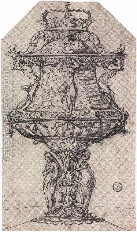 Design for a Table Fountain with the Badge of Anne Boleyn by Hans, the Younger Holbein - Reproduction Oil Painting