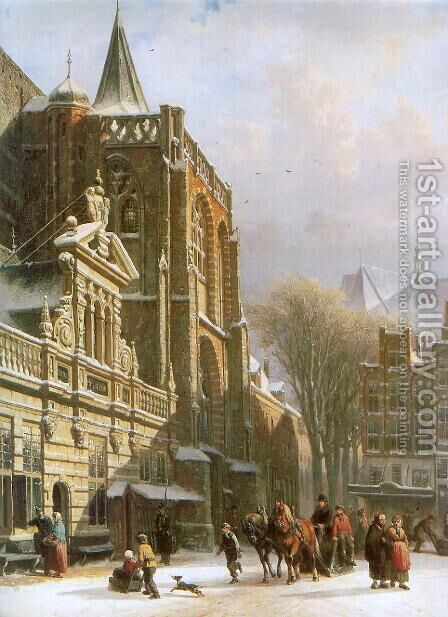 St. Michael Church in Zwolle by Cornelis Springer - Reproduction Oil Painting