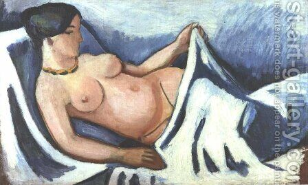 Reclining female nude by August Macke - Reproduction Oil Painting