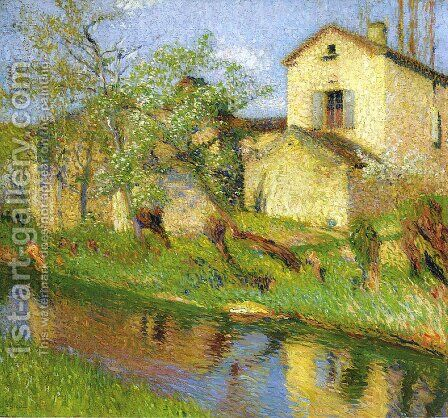 House on Stream by Henri Martin - Reproduction Oil Painting