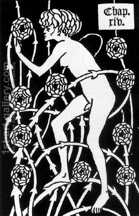 Hermaphrodite Among Roses by Aubrey Vincent Beardsley - Reproduction Oil Painting