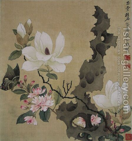 Magnolia and Erect Rock by Chen Hongshou - Reproduction Oil Painting