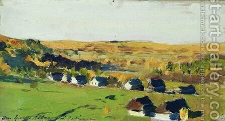 Autumn landscape. Village. by Isaak Ilyich Levitan - Reproduction Oil Painting