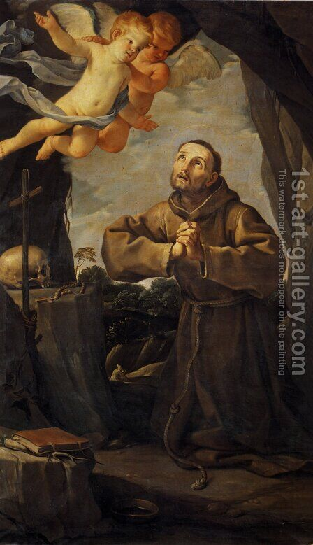 St Francis in prayer with Two Angels by Guido Reni - Reproduction Oil Painting
