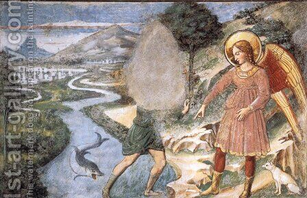Tobias and the Fish by Benozzo di Lese di Sandro Gozzoli - Reproduction Oil Painting
