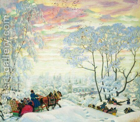 Winter 3 by Boris Kustodiev - Reproduction Oil Painting
