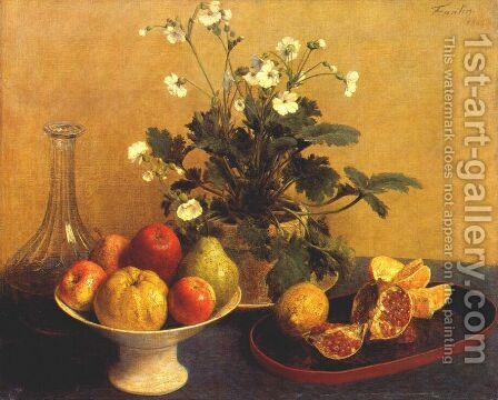 Still life. Flowers, Bowl of Fruit and Pitcher by Ignace Henri Jean Fantin-Latour - Reproduction Oil Painting