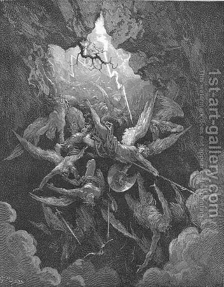 Hell at last, Yawning, received them whole by Gustave Dore - Reproduction Oil Painting