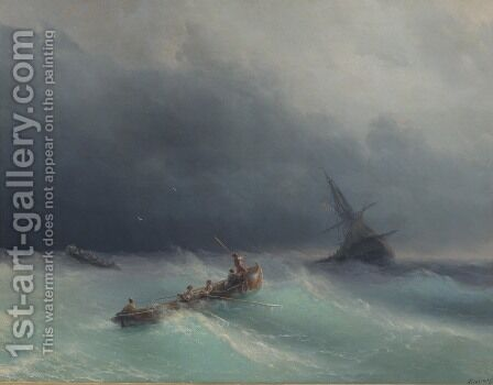 Storm at sea 5 by Ivan Konstantinovich Aivazovsky - Reproduction Oil Painting