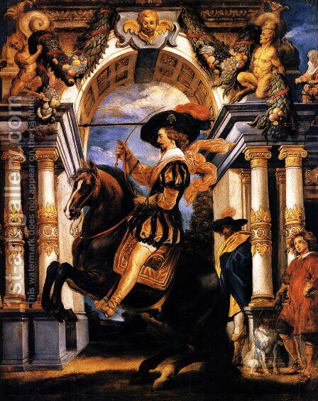 Cavalier executing a Levade, in front of a portal by Jacob Jordaens - Reproduction Oil Painting