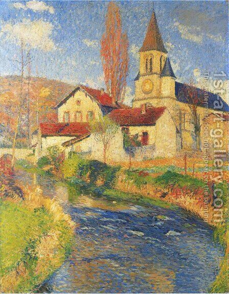 Church by the River by Henri Martin - Reproduction Oil Painting