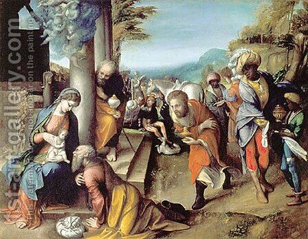 Adoration of the Magi by Correggio (Antonio Allegri) - Reproduction Oil Painting