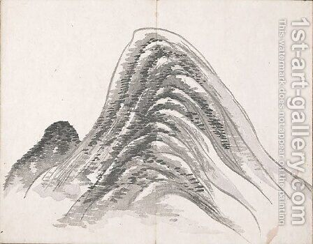 Untitled (Two Mountains) by Ike no Taiga - Reproduction Oil Painting