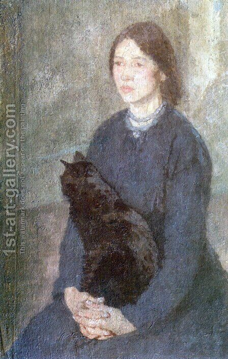Young Woman Holding a Black Cat by Gwen John - Reproduction Oil Painting