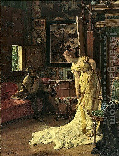 The Studio by Alfred Stevens - Reproduction Oil Painting