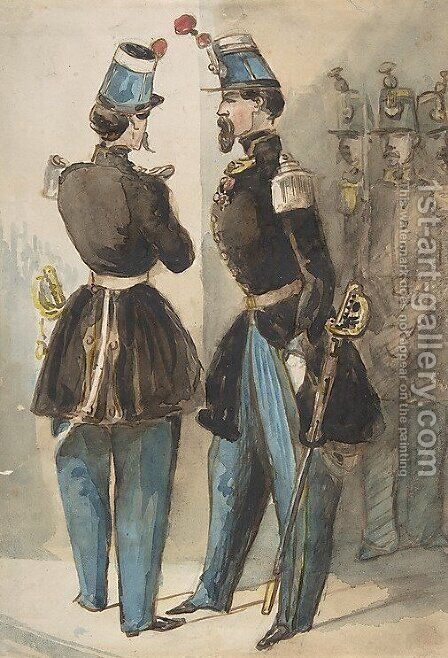 Officers of the Guard by Constantin Guys - Reproduction Oil Painting
