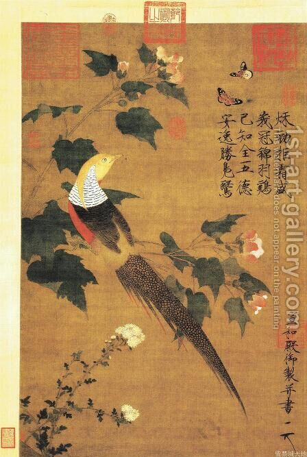 Golden Pheasant and Cotton Rose Flowers by Huizong Emperor - Reproduction Oil Painting