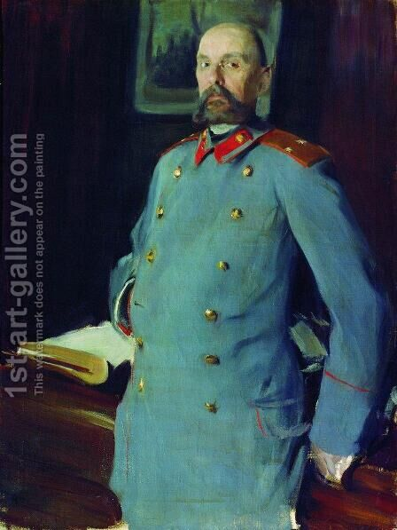 Portrait of the commandant of the Mariinsky Palace, Major-General Pavel Shevelev by Boris Kustodiev - Reproduction Oil Painting