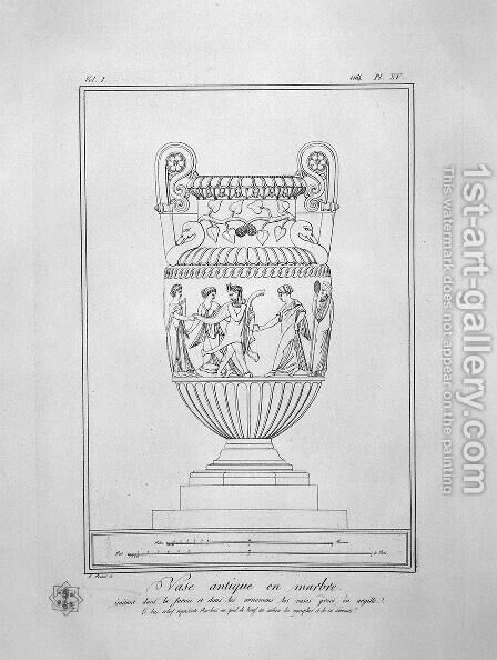 Decorative marble Vase (inc. in outline) by Giovanni Battista Piranesi - Reproduction Oil Painting