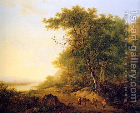 Mountainous landscape with travellers Sun__Mountainous-landscape-with-travellers 2 by Jacob van Strij - Reproduction Oil Painting