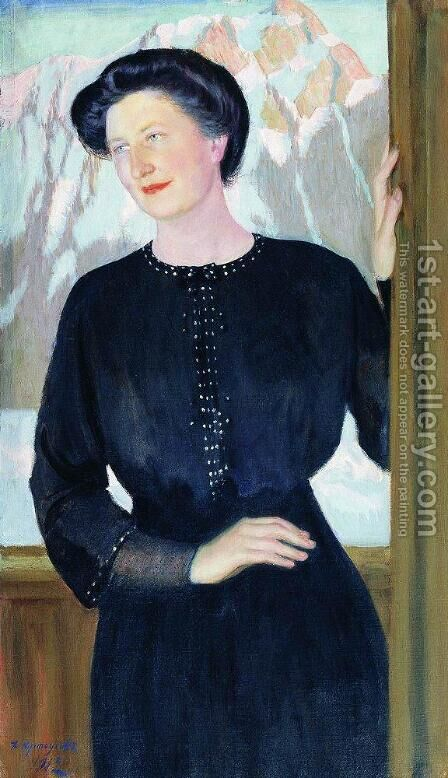 Portrait of N.I. Zelenskaya by Boris Kustodiev - Reproduction Oil Painting