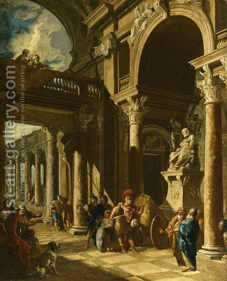 Alexander the Great Cutting the Gordian Knot by Giovanni Paolo Panini - Reproduction Oil Painting
