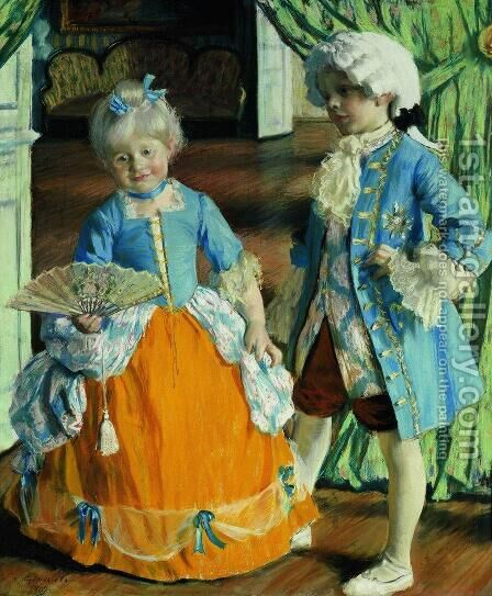 Children in the costumes by Boris Kustodiev - Reproduction Oil Painting