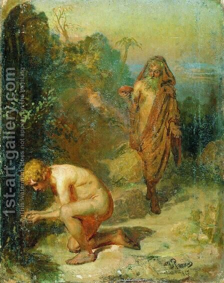 Diogenes and the boy by Ilya Efimovich Efimovich Repin - Reproduction Oil Painting