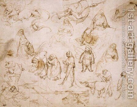 Sketches for a Temptation of St. Anthony by Hieronymous Bosch - Reproduction Oil Painting