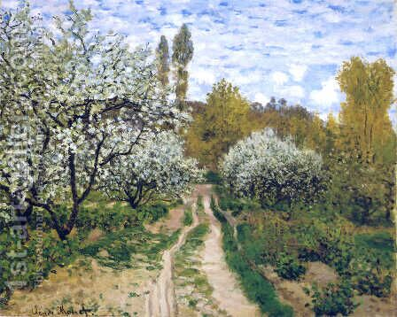 Trees in Bloom by Claude Oscar Monet - Reproduction Oil Painting