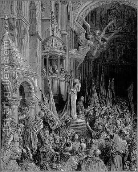 Dandolo, Doge of Venice, Preaching the Crusade by Gustave Dore - Reproduction Oil Painting