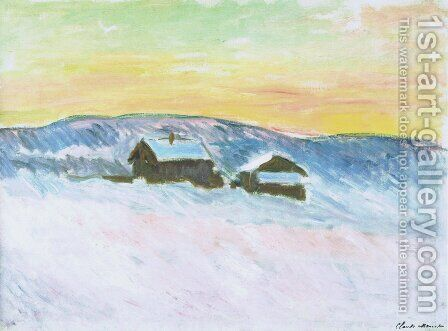 Paysage of Norway, the Blue Houses by Claude Oscar Monet - Reproduction Oil Painting